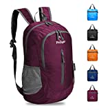 Prospo Packable Lightweight Shoulder Backpack Water Resistant Medium Hiking Traveling Cycling Carry On Daypack Women Men(Wine Red)