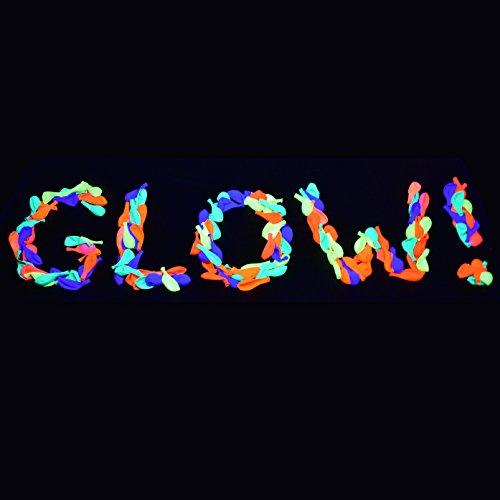 UV Blacklight Reactive Fluorescent / Neon Party Balloons - 50-Pack
