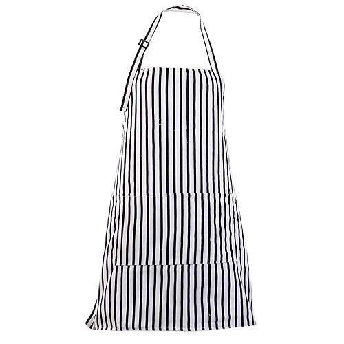 MissOwl Adjustable Bib Apron with Pockets Cooking Kitchen Apron for Women Black and White Stripes