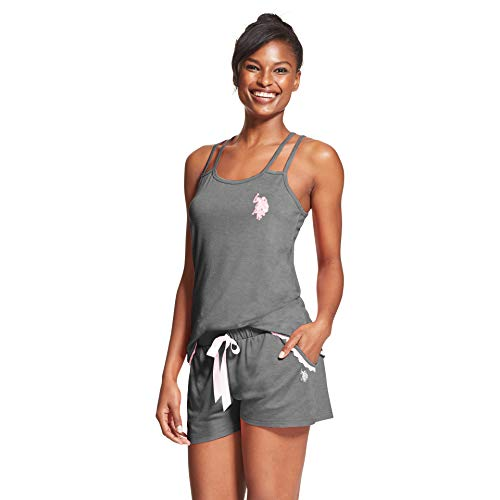 U.S. Polo Assn. Womens 2 Piece Sleeveless Tank Top Elastic Waist Pajama Shorts Set Charcoal Heather Sea 3X ()