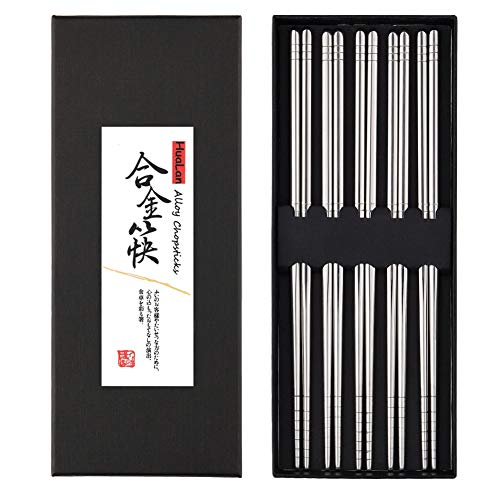 HuaLan Metal Alloy Chopsticks Stainless Steel Lightweight Chopsticks 5 Pairs Gift Set