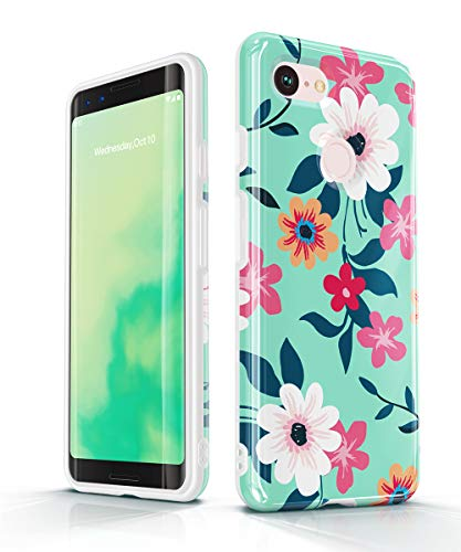 GVIEWIN Designed for Google Pixel 3 Case with Floral Pattern, Soft TPU Protective Phone Case Cover, Ultra Slim, Anti-Slip, Bumper Shock Absorption (Will Not fit Pixel 3 XL) (Narcissus/Green)