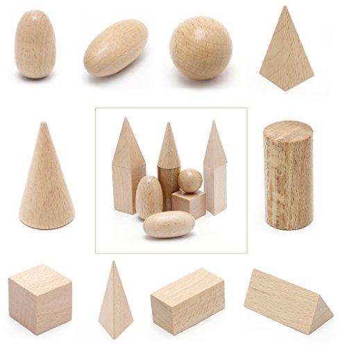 BKID 10Pcs/Set Wooden Montessori Mystery Bag Geometry Blocks Set Educational Cognitive Toys
