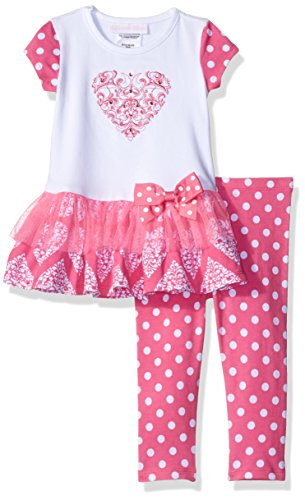 Bonnie Baby Baby Girls' Short Sleeve Heart Appliqued Playwear Set, Pink, 24 m