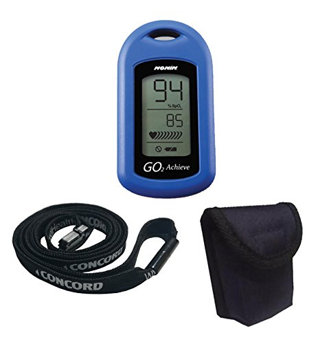 Nonin GO2 Achieve Fingertip Pulse Oximeter with Concord's Super-Safe Lanyard and Carrying Case Combo