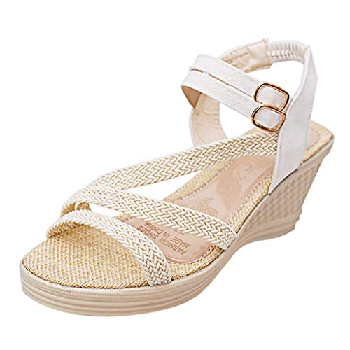 ndmade-Knitted High Heel Wedges Sandals with A Double Buckle Roman Sandals White ()