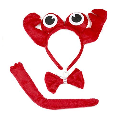 [Cute Red Crab Headband Bowtie Tail 3pc Costume for Children Halloween or Party] (Crab Costumes)