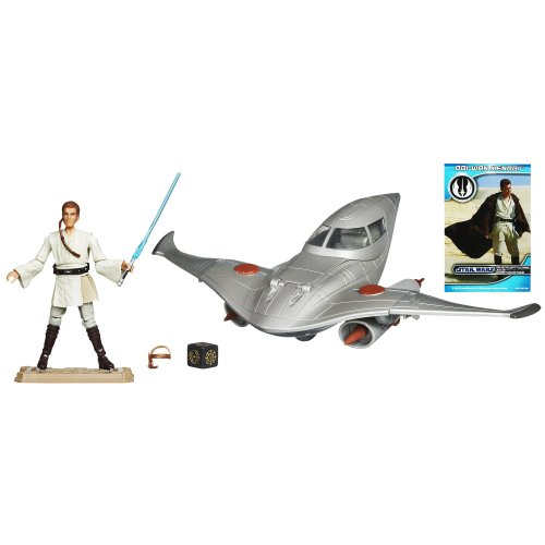 - Star Wars Naboo Royal Fighter Vehicle with Obi-Wan Kenobi Figure 4 Inches