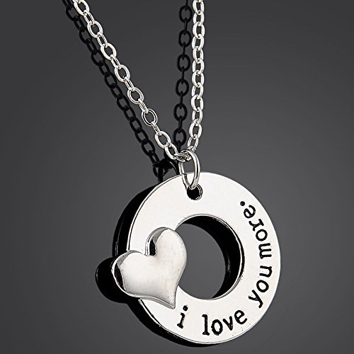 Fashion Lovely I LOVE YOU MORE Letter Heart Charm Choker Pendant Necklace Gift