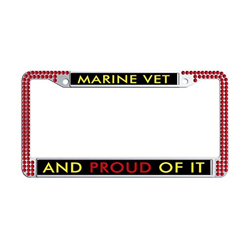 - Toanovelty US Marine Corps Veteran and Proud of it Shining Crystal License Plate Frame, Waterproof Red Bling Hippie Car Auto Tag Frame 6' x 12' in