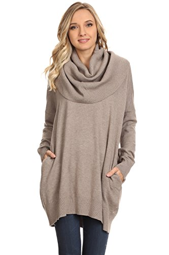 A+D Womens Oversized Cowl Neck Knit Sweater Tunic W Side Pocket (Mocha, Medium/Large)