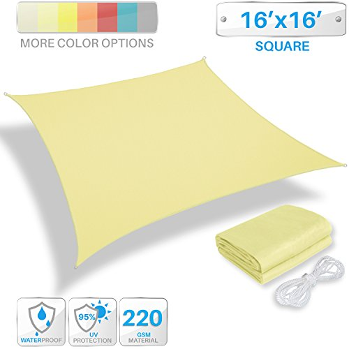 Patio Paradise 16 x 16 Waterproof Sun Shade Sail-Canary Yellow Rectangle UV Block Durable Awning Canopy Outdoor Garden Backyard