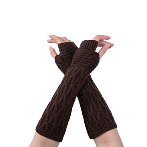 Kikole Womens Winter Knit Long Fingerless Gloves Thumb Hole Arm Warmers Mittens