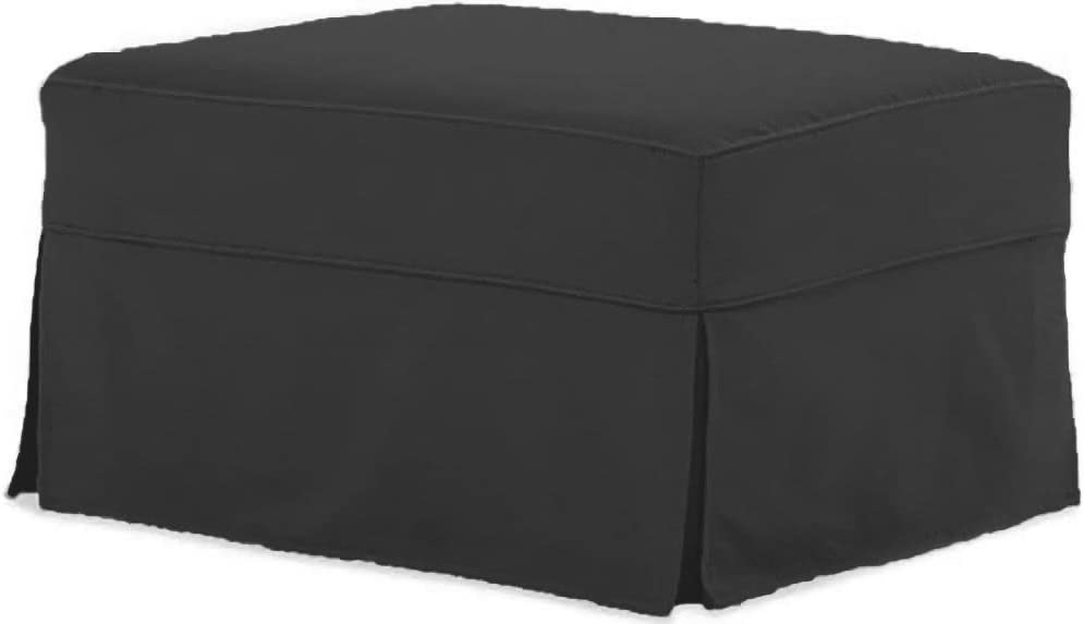 The Cotton Ottoman Slipcover Replacement. It Fits Pottery Barn PB Comfort Ottoman. Dense Cotton Sofa Footstool Cover (Comfort Dark Gray)