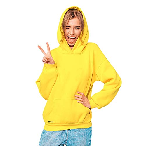 MOJIGEAR Basic Hoodie Sweatshirt Loose Fit Unisex Yellow (Large)