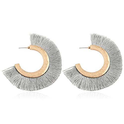 Bohemian Silky Thread Tassel Strand Fringe Statement Hoop Earrings - Lightweight Semi Circle Fan Threader Dangles (Fringe Hoops - Gray)