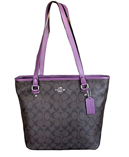 Coach Signature Zip Top Tote (Brown Berry)