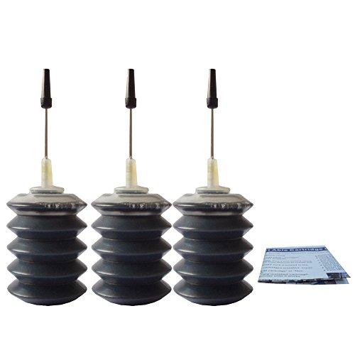 J2INK Ink Refill Kit for 63 63XL Deskjet 1110 1112 2130 2131 2132 2133 2134 3x30ml Black (Ink A Dink A Bottle Of Ink)