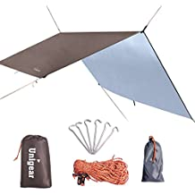 Hammock Rain Fly Waterproof Tent Tarp Camping Backpacking Tarp Shelter, Lightweight for Survival Gear, 6 Stakes and Ropes Included, Made from 210D Oxford Fabric