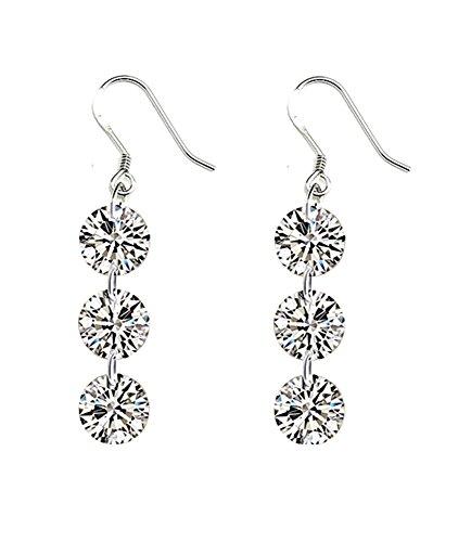 Celebrity-Jewellery-Sparkling-Clear-Circonita-S925-gota-de-plata-de-ley-pendientes-del-gancho-de-regalos-de-San-Valentn