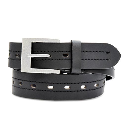 Men's Casual Classic Jean Belt with Heavy Duty Buckle / Leather / Black
