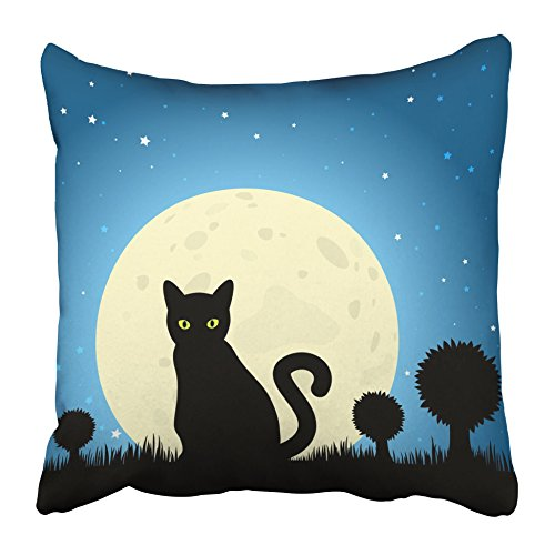 Emvency Throw Pillow Covers 18 x 18 Inches Lucky Halloween Black Cat Silhouette Against Moon Night Sky Unlucky Dark Eyes Feline Pillow Case Decorative Cushion Cover Two Sides Print -