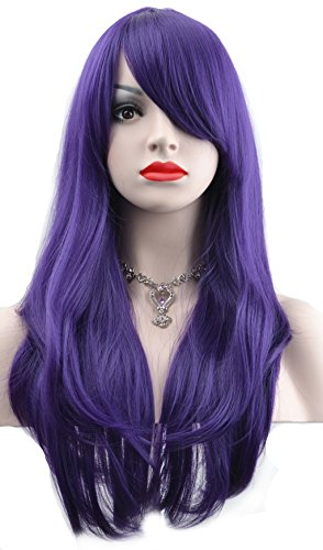 [WELLKAGE 28 inches Halloween Costume Long Big Wavy Cosplay Womens Hair Wigs (purple)] (Halloween Costumes Violet)