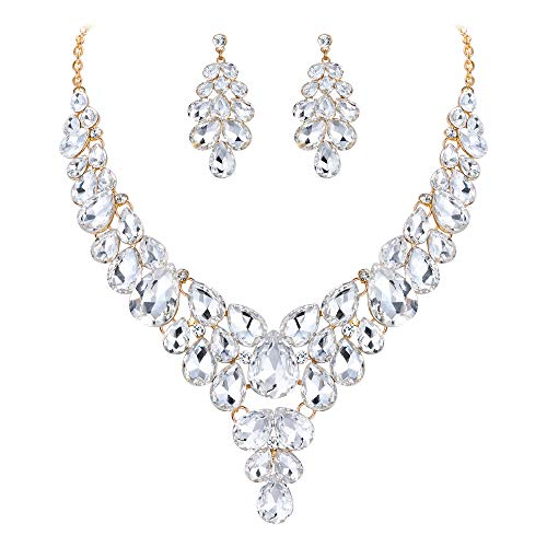 (BriLove Women's Wedding Bridal Crystal Multi Teardrop Cluster Statement Necklace Dangle Earrings Set Clear Gold-Toned)