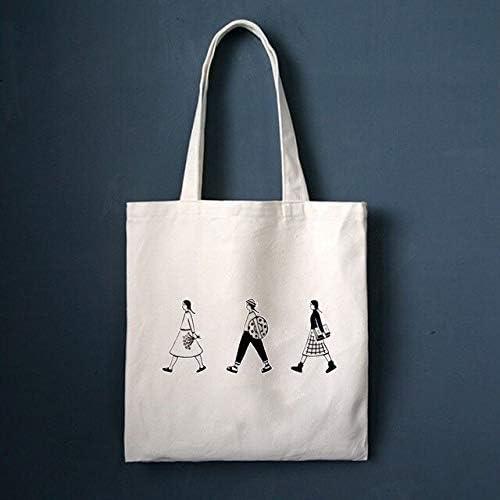 EVEYYFBB Mujer Bolsa de Asas Grande de Lona de Dibujos Animados Reutilizable Bolsa de Compras Blanca Plegable Plegable Tela de Tela de algodón Eco Bolsas, 1: Amazon.es: Equipaje