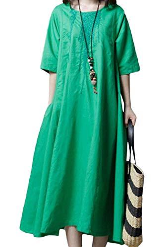 862f18ad4a5 Robes En D été longues Mi Femme Décontracté Vert Rose Soie Demi Coton Xx De Robe  manche ...