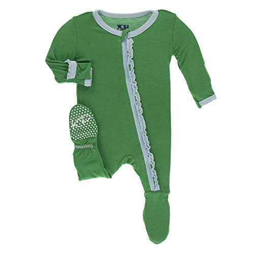 Kickee Pants Little Girls Solid Muffin Ruffle Footie with Zipper - Fern with Spring Sky, 0-3 Months
