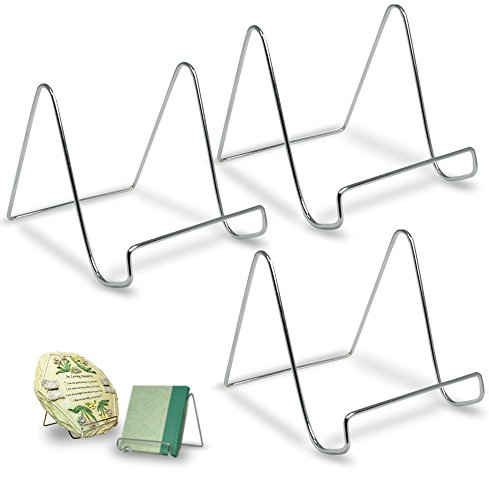 (BANBERRY DESIGNS Silver Wire Easel Display Stand - Smooth Chrome Metal - 6 Inch - Pack of 3)