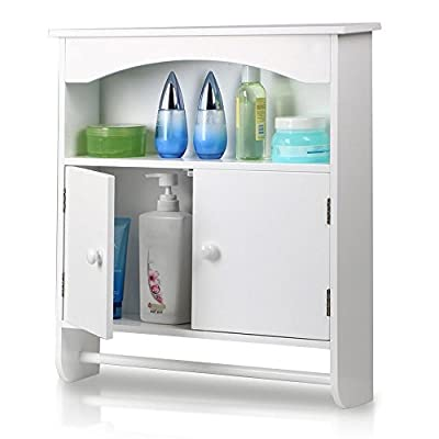 Topeakmart White Wood Bathroom Wall Mount Cabinet Toilet Medicine Storage Organizer Bar