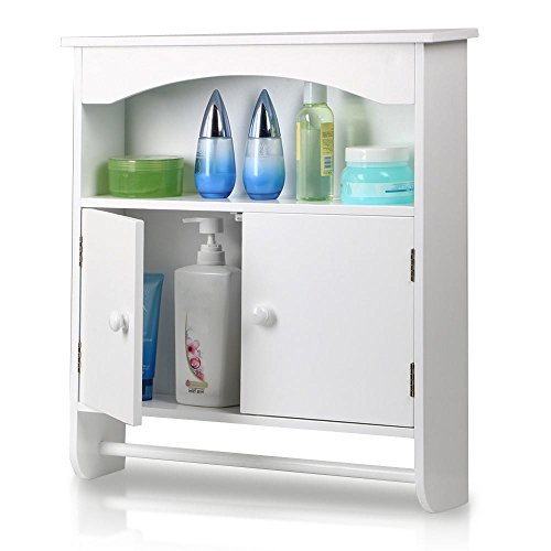 Topeakmart White Wood Bathroom Wall Mount Cabinet Toilet Medicine Storage Organizer Bar (Medicine Cabinet With Towel Bar)
