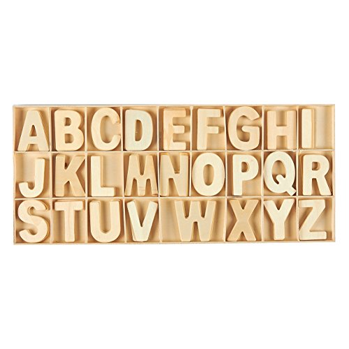 Wooden Letters - 104-Piece Wooden Craft Letters with Storage Tray Set - Wooden Alphabet Letters for Home Decor, Kids Learning Toy - Natural Color, 2 inches