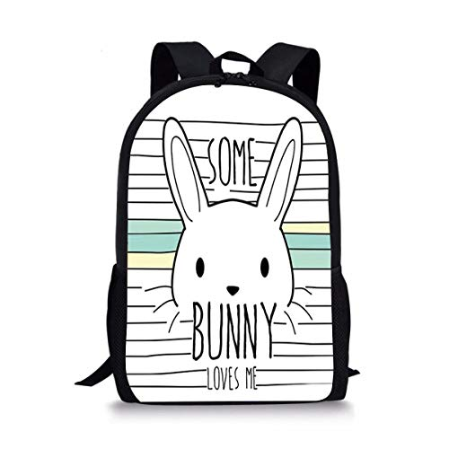 DBGFbackbagYU Some Bunny Loves Me Cute Print School Backpack For Boys Girls School Book Bags
