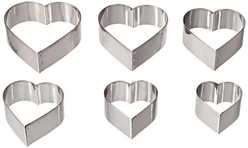 Ateco Graduated Heart Cookie Cutters, Set of 6 (Heart Shaped Cookie Cutter)