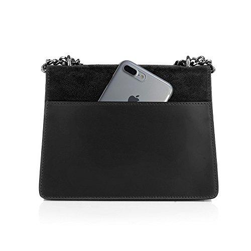 à métal cuir épaule daim et à foncé en cuir Noir sac de accessoires de bandoulière main lisse chaîne sac en soirée Pochette et GENEVRA nickel RwqnEFRT