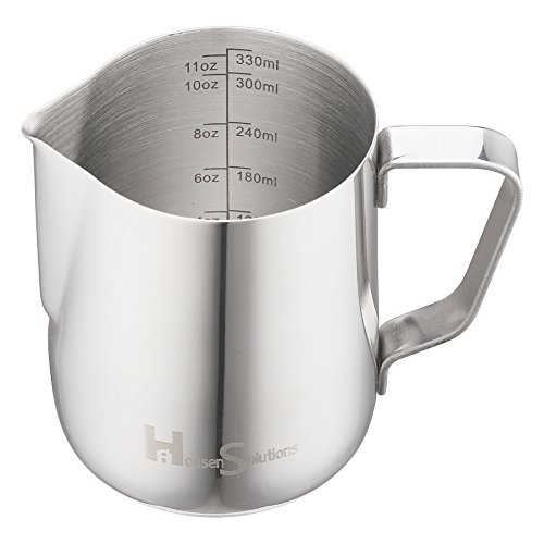 Milk Frothing Pitcher - Housen Solutions Stainless Steel 304 Steaming Pitcher with Measurement 12 Oz...