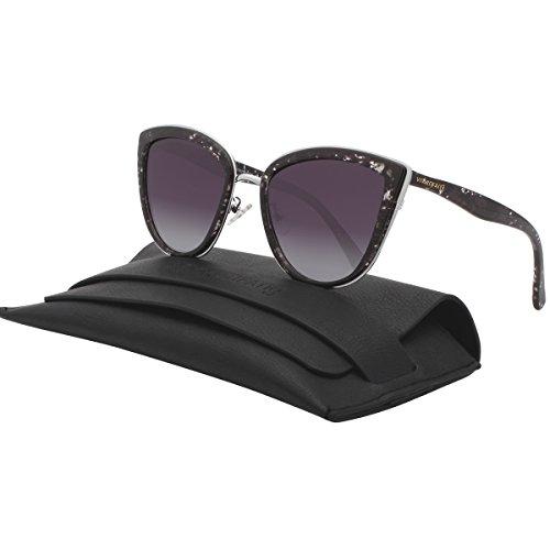 VIVIENFANG Women's Flash Mirror Lens Oversize Polarized Cateye Sunglasses P1891J Black - Shades Quay