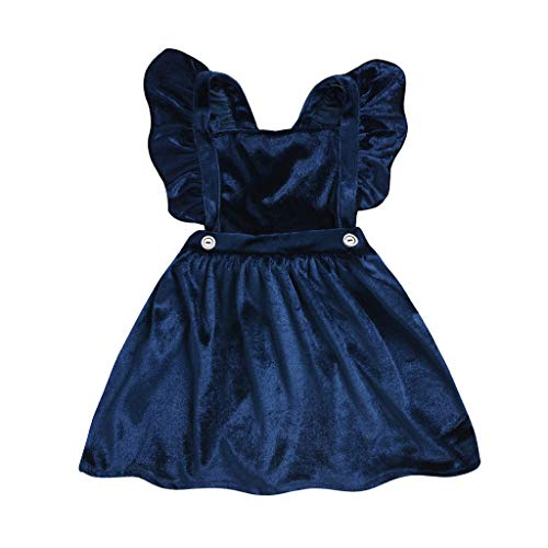 - Toddler Kids Baby Girls Velour Sleeve Strap Suspender Skirt Overalls Princess Dress Party Skirt Casual Outfits Set Clothes (Navy, 3-4 Years/120)