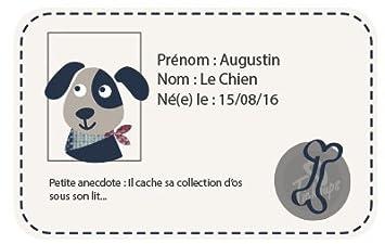 Tichoups Chaussons b/éb/é cuir souple Augustin le chien 16//17