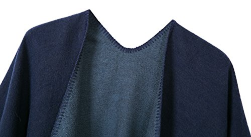 Urban CoCo Women's Color Block Shawl Wrap Open Front Poncho Cape (Series 7-navy blue) by Urban CoCo (Image #2)