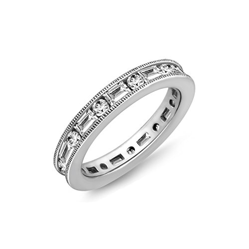Diamonbliss Sterling Silver 1.20 ct tw Cubic Zirconia Baguette&Round Eternity Ring, Size 8 (Ring Pearl Band Eternity)