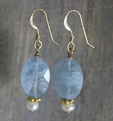 Aquamarine and Cultured Freshwater Pearl 14kt Gold Filled Earwires Earrings March Birthstone