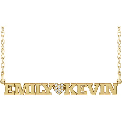 Roy Rose Jewelry 10K Yellow Gold with Diamond Couples Two Name Nameplate and Diamond Heart Customized Necklace by Roy Rose Jewelry