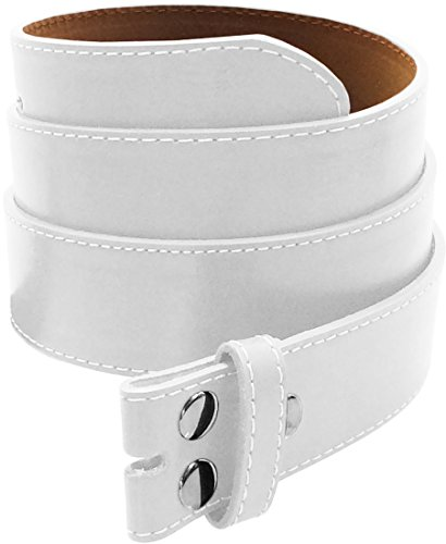 LUNA Premium Basic Genuine Leather Stitching Belt Strap - White - (Pink Leather Belt Strap)