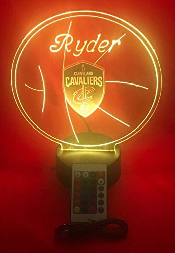 Cleveland Beautiful Handmade Acrylic Personalized Cavaliers NBA Basketball Light Up Light Lamp LED Lamp Our Newest Feature - It's Wow, with Remote 16 Color Options, Dimmer, Free Engraved, Great Gift