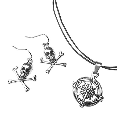 Sabai NYC Pirate Skull Earring & Adjustable Compass Pendant Necklace Jewelry Set -