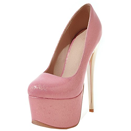 ENMAYER Frauen Rosa#32 Lackleder Sexy Plattform Stiletto Super High Heels Runde und Peep Toe Pumps Slip auf Hochzeitskleid Court Schuhe 41 B(M) EU